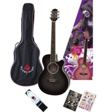AKUSTİK GİTAR GYPSY ROSE SET (GIGBAG, STRAP, STICKERS, DVD), SİYAH