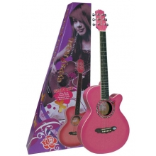 AKUSTİK GİTAR GYPSY ROSE SET (GIGBAG, STRAP, STICKERS, DVD), PEMBE