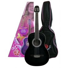KLASİK GİTAR GYPSY ROSE SET (GIGBAG, STRAP, STICKERS, DVD), SİYAH