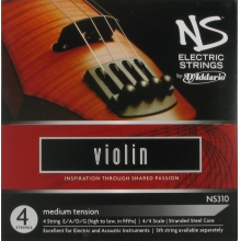 ELEKTRO VIOLIN TEL SETİ, NS, 4 TEL, SCALE 4/4, MEDIUM TENSION, E-Mİ/A-LA/D-RE/G-SOL, (HIGH TO LOW, IN FIFTHS), STRANDED STEEL CORE