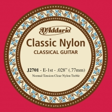 KLASİK GİTAR TEK TELİ, CLASSIC NYLON, NORMAL TENSION, CLEAR NYLON, TREBLE, E (Mİ), İLK TEL, 0.028 (0.77MM)