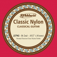 KLASİK GİTAR TEK TELİ, CLASSIC NYLON, NORMAL TENSION, CLEAR NYLON, TREBLE, B (Sİ), İKİNCİ TEL, 0.032 (0.81MM)