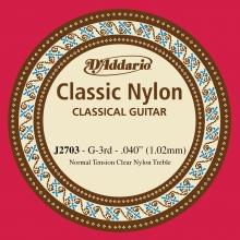 KLASİK GİTAR TEK TELİ, CLASSIC NYLON, NORMAL TENSION, CLEAR NYLON, TREBLE, G (SOL), ÜÇÜNCÜ TEL, 0.040 (1.02MM)