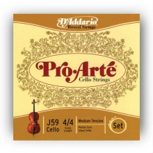 CELLO TEL SETİ, PRO-ARTE, SCALE 4/4, MEDIUM TENSION, PERLON CORE, SILVER D (RE)